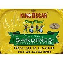 "King Oscar ""Tiny Tots"" Finest Brisling Sardines in Extra Virgin Olive Oil (9 Tins)"