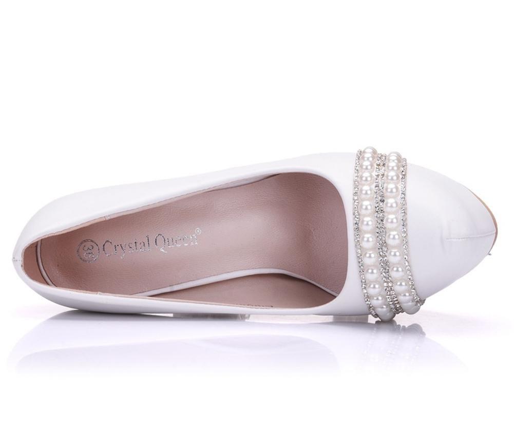 Damen Hochzeit Braut Gericht Schuhe Pumps Weiß Strasssteine Hoch Absätze Plattform Flach Pumps Schuhe Abschlussball Abend Weiß f0e4bd