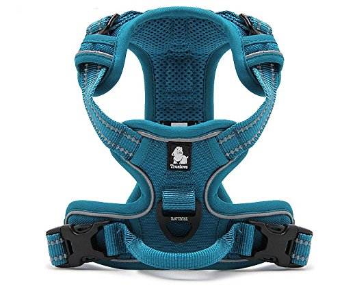 Teal bluee M Teal bluee M Uppershop Front Range Dog Harness 3M Reflective Vest with Handle and 2 Leash Attachments Adjustable Outdoor Pet Vest with Leash (M, Teal bluee)
