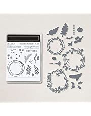 Leaves Wreath Halloween Christmas Dies and Stamps for Card Making DIY Scrapbooking Xmas Leaf Halloween Bats Metal Cutting Dies&Rubber Clear Stamp for Paper Crafting Happy Halloween Merry Christmas