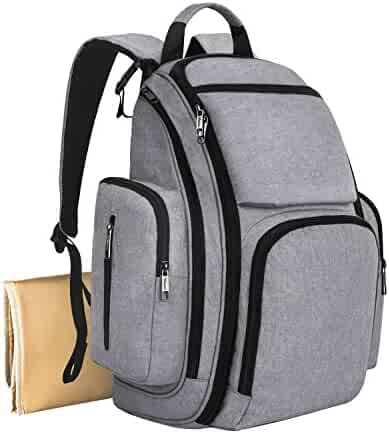Mancro Diaper Bag Backpack, Organizer Baby Back Pack for Mom / Dad with Stroller Straps, Changing Pad & Insulated Pockets, Water Resistant Anti-theft Travel Bags for Boys / Girls Care in Grey