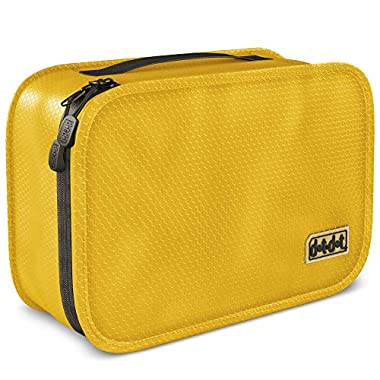 Dot&Dot Hanging Toiletry Bag for Men, Women and Kids - Organizer for Travel Accessories and Toiletries (11  x 6.75  x 3 , Yellow)