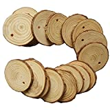 """Fuhaieec Wood Slices 2.8-3.2"""" (7-8cm) Natural Wood Slices Unfinished Predrilled Round Discs Tree Bark Wooden Circles for DIY Crafts Christmas Rustic Wedding Ornaments (10pcs)"""