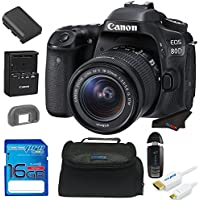 Canon EOS 80D DSLR Camera with 18-135mm Lens + 16GB Pixi-Starter Accessory Bundle w/ Camera Bag