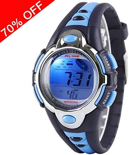 Viliysun Kid Watch Multi Function Digital LED Sport 50M Waterproof Electronic Digital Watches for Boy Girl Children Gift Blue