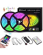 LED Strips Lights 10m,Elfeland Color Changing Rope Lights 32.8ft 300SMD 5050 RGB Light Strips APP Sync with Music IP65 Waterproof with IR Remote Decorative LED Lighting Strips for Xmas Party Home 2x5m