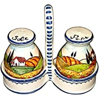 CERAMICHE D'ARTE PARRINI - Italian Ceramic Set Salt and Pepper Shakers Pots Art Pottery Hand Painted Decorated Poppies Landscape Made in ITALY Tuscan