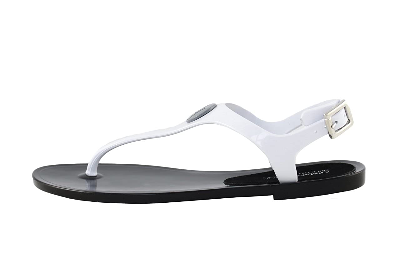 Armani Dianette Jeans Schuhe Sandalen Dianette Armani ZehenSandale Schuhe C55G6 Schwarz-Weiß 46398b