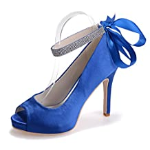 Monie Women's Rhinestones Bridal Bridesmaid Dress Strappy Shoes for Wedding Ribbon Tie Peep Toe Pumps