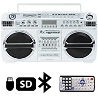 Lasonic High Performance Ghetto Blaster Music System with Bluetooth- White