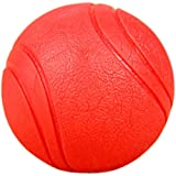 Sweiao Interactive Toy Ball for Dogs, Virtually Indestructible Dog Ball, Pet Toy Balls for,Training, Playing, Non-toxic Chew Toy, Natural Rubber Baseball-sized Bouncy Dog Ball (2.8 inches, red)