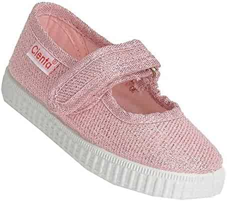 04a93c3b81f4 Cienta Girls Pink Shimmery Finish Hook-and-Loop Strap Casual Shoes 11 Kids