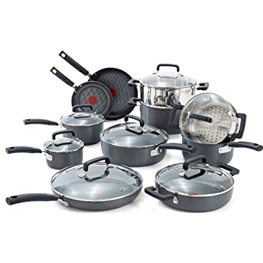 T-fal C770SI Signature Hard Anodized Scratch Resistant PFOA Free Nonstick Thermo-Spot Heat Indicator Cookware Set, 18-Piece, Gray