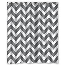 """60""""(w) x 72""""(h) Hot Sale Grey and White Chevron Zigzag Zig Zag Pattern Theme Picture 100% Polyester Bathroom Shower Curtain Shower Rings Included"""