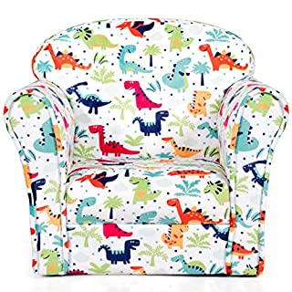 Costzon Kids Sofa, Children Armrest Chair with Pattern, Toddler Furniture w/Sturdy Wood Construction for Boys & Girls, Armrest Couch for Preschool Children, Lightweight Children Sofa Chair, Dinosaur
