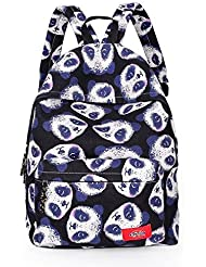 Huachnet Girls Canvas Backpack School Bag (Black Panda Pattern)