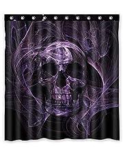 Custom Print Design Black and Purple Skull Shower Curtain Decoration Mildew Waterproof Polyester Fabric Bathroom Shower Curtain 66 x 72 Inch