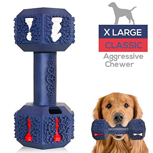 Jomilly Dog Chew Toys for Aggressive Chewers Indestructible Dog Toys Non-Toxic Tough Natural Rubber Dumbbell Toy for Medium Large Dogs