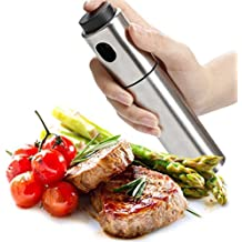 Momugs 5 oz Stainless Steel Olive Oil Sprayer Dispenser Bottle for Cooking Baking Barbecue Grill Marinade Fryer, Portable Spray for Vinegar Spice Wine lemon