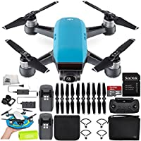 DJI Spark Portable Mini Drone Quadcopter Fly More Combo Palm Landing Pad Bundle (Sky Blue)