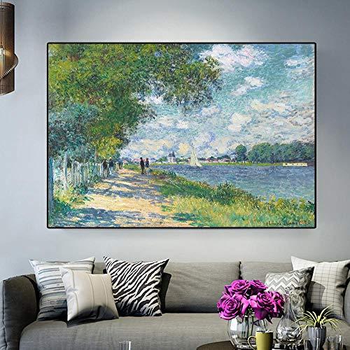 Impresion HD Claude Monet Seine en Argenteuil Paisaje impresionista Pintura al oleo sobre lienzo Poster Artistico Cuadro de pared para el hogar Marco de 24x35 (60x90cm)