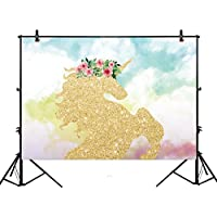 Allenjoy 7x5ft photography backdrop background watercloor Gold Glitter Unicorn cloud Birthday party banner Newborn props photo studio booth baby shower photocall
