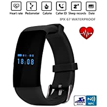 Original Stock Bluetooth Smartwatch Smart Watch D21 Wristband Bracelet Band Heart Rate Smartband Activity Tracker Fitness for IOS Android (Black)