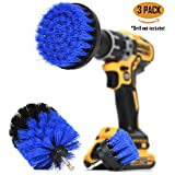 ORIGINAL Drill Brush 360 Attachments 3 pack kit -Blue All purpose Cleaner Scrubbing Brushes for Bathroom surface, Grout, Tile, Tub, Shower, Kitchen, Auto,Boat Fiberglass
