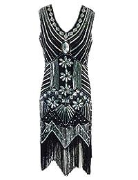Whoinshop Women 1920s Gatsby Retro Sequin Tassel Beaded Fringed Flapper Dress