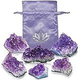 BedRock Amethyst Geode Druzy Crystal Clusters - 0.5 LBS of Purple Amethyst Crystal in a Luxurious Pouch