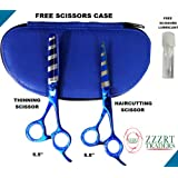 "ZZZRT ZB-5005 Professional Razor Edge High Quality Japanese J2 Stainless Steel Hair Cutting scissor shear And Hair Thinning Scissor Shear Set 5.5"" + Free Scissors Pouch & Free Scissor Lubricant and Free Scissor Insert Rings"