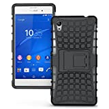 JKase DIABLO Series Tough Rugged Dual Layer Protection Case Cover with Build in Stand for Sony Xperia M4 Aqua (Black)