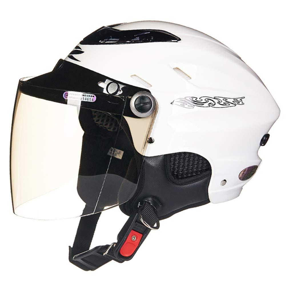 Qianliuk Off Road Motorcycle Helm Sunscreen Halb-Elektro-Fahrzeug Motorrad-Helme mit Visor Herbst Winter Eult Safety Caps M 53-60cm