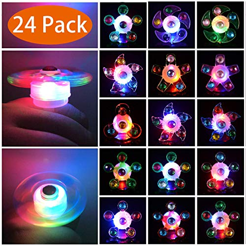 Mikulala Light Up Rings LED Party Favors for Kids Prizes 24 Pack Glow In The Dark Party Supplies Bulk Hand Spin Stress Relief Anxiety Toys for Classroom Birthday Celebration Valentine Gifts -