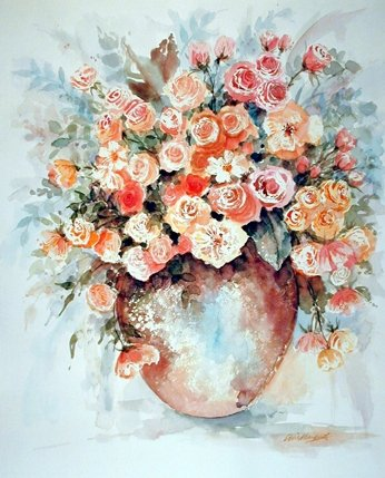 Vase of Roses Flower Fine Wall Decor Art Print Poster (8x10 Art Flower)