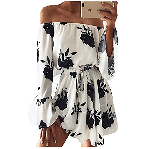 Yuandy Women Sexy Off Shoulder Halter Floral Printed Short Beach Dresses - Beach Apparel