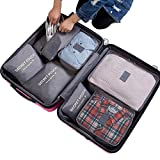 7Pcs Waterproof Travel Storage Bags Clothes Packing Cube Luggage Organizer Pouch (gray)