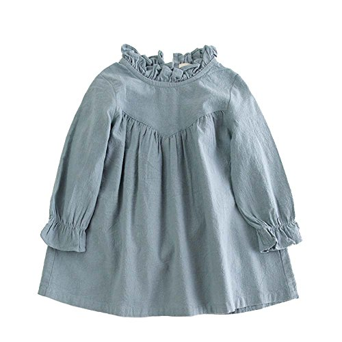 VIYOO Children's Cotton Linen Long Sleeve Girl Dresses Casual Fashion Spring Toddler Girl - Linen Fashion