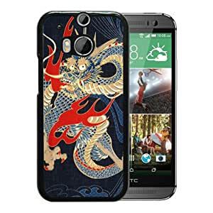 Beautiful Designed Cover Case For HTC ONE M8 With Japan Dragon Art Black Phone Case