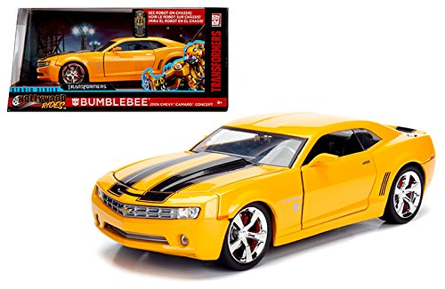 New Jada NEW DIECAST TOYS CAR JADA 1:24 WINDOW BOX HOLLYWOOD RIDES TRANSFORMERS BUMBLEBEE 2006 CHEVROLET CAMARO CONCEPT - Window Bee Bumble
