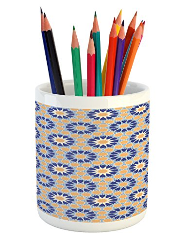 Lunarable Arabic Pencil Pen Holder, Big Flowers Chevron with Star Like Figures Asian Bouquet Corsage, Printed Ceramic Pencil Pen Holder for Desk Office Accessory, Dark Blue Pale Blue Apricot (Asian Bouquet)