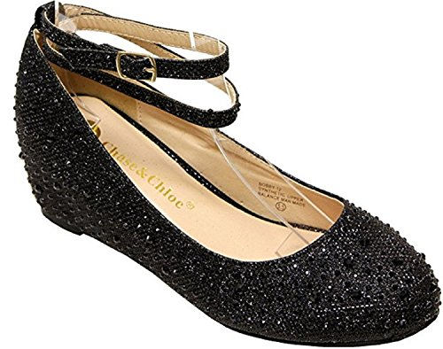 Image of Chase & Chloe BOBBY-12 Hidden Heel Rhinestone Bead Glitter Upper Round Toe Synthetic Wedges Pumps for Women Black 7