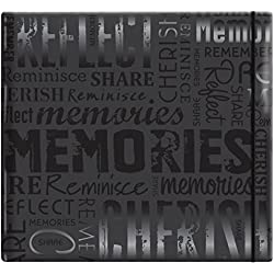 "MCS MBI 13.5x12.5 Inch Embossed Gloss Expressions Scrapbook Album with 12x12 Inch Pages, Black, Embossed ""Memories"" (848121)"