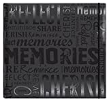 MCS MBI 13.5x12.5 Inch Embossed Gloss Expressions Scrapbook Album with 12x12 Inch Pages, Black, Embossed ''Memories'' (848121)