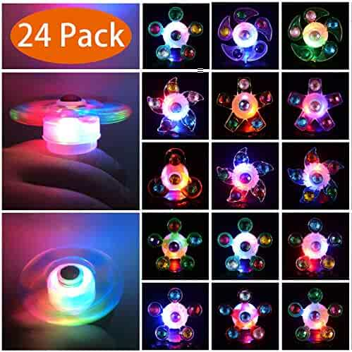 Mikulala Light Up Rings LED Party Favors for Kids Prizes 24 Pack Glow In The Dark Party Supplies Bulk Hand Spin Stress Relief Anxiety Toys for Classroom Birthday Celebration Valentine Gifts
