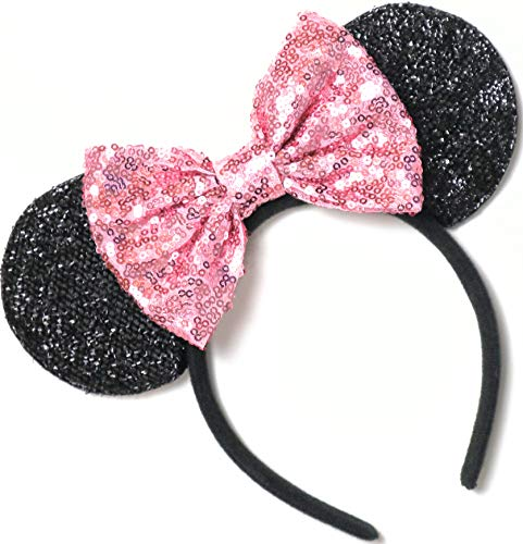 CLGIFT Pink Mickey Ears, Rainbow Minnie Mouse Ears, Sparkly Minnie Ears, Mouse Ears, Electrical Parade -