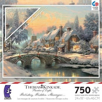 Thomas Kinkade 750 Piece Jigsaw Puzzle - Holiday Hidden Messages