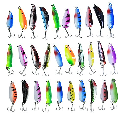 JSHANMEI Fishing Lures Kit Spinners Plastic Swimbait Crankbaits Minnow Variety Kit Rooster Tail Trout Spinner Salmon Spoons Walleye Assorted Metal Hard Lures Spinner Baits (30PCS Lures Kit)