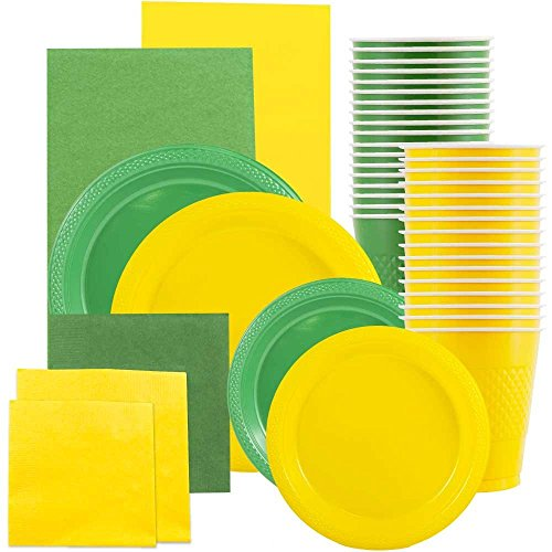JAM PAPER Party Supply Assortment - Yellow & Green Grad Pack - Plates (2 Sizes), Napkins (2 Sizes), Cups & Tablecloths - 12 Items/Set
