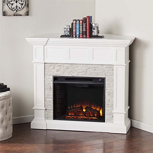 Southern Enterprises Merrimack Corner Electric Fireplace in White Review